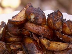 Get Balsamic-Baked Onions and Potatoes with Roast Pork Recipe from Food Network