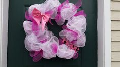 Check out this item in my Etsy shop https://www.etsy.com/listing/267169357/breast-cancer-awareness-deco-mesh-wreath