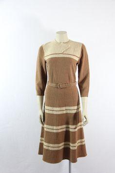 Vintage Sweater Dress  1940s Mocha Knit by VintageFrocksOfFancy, $190.00