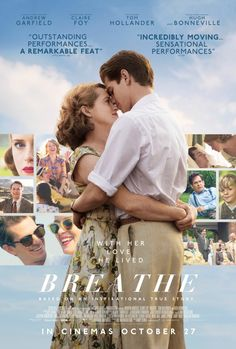 New Poster for Biopic-Drama 'Breathe' - Starring Andrew Garfield Claire Foy Tom Hollander and Diana Rigg - Directed by Andy Serkis Films Hd, Hd Movies, Movies Online, Movies And Tv Shows, Cinema Movies, Comedy Movies, Action Movies, Movie To Watch List, Movie List