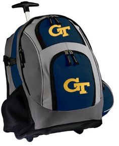 """Georgia Tech Rolling Backpack Deluxe Navy Yellow Jackets Logo - Backpacks Bags with Wheels or School Trolley Carry-On Suitcase Bags - Unique Gifts by Broad Bay. $59.99. Lots of Exterior Pockets and a Mesh Water Bottle Pocket,. Super Strong 600 Denier Fabric, Two Stage Telescope Handle. Well Padded Back and Adjustable Padded Straps. Dimensions: 20.5""""h x 13""""w x 7.9""""d; Approx. 2,097 cubic inches. Super Strong 600 Denier Nylon. Best Unique Valentine Gift Ideas. Our deluxe wheeled ..."""