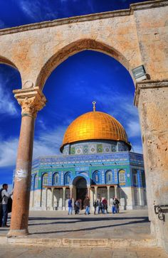 Breath Taking... The Dome of the Rock shrine and al-Aqsa mosque remain active until today. In 1967 Israel reunited Jerusalem, but left the control of the temple mount to the Muslim Wakf. In 1994 the dome was refurbished with Gold, using 150KG of pure Gold, which was donated by King Hussein of Jordan.