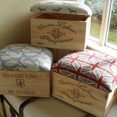 Original wine boxes with a hinged, upholstered top covered in Emily Bond linen. They are a quirky and practical addition to any home and make fantastic gifts! Six different fabrics available. Wine boxes will vary.