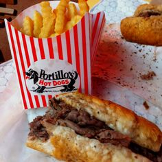 Portillo's Chicago Italian Beef my favorite beef sandwich. Italian Beef Sandwiches Chicago, Chicago Italian Beef, Great Recipes, Favorite Recipes, Chicago Style, Chicago Restaurants, Stuffed Hot Peppers, Italian Recipes, The Best