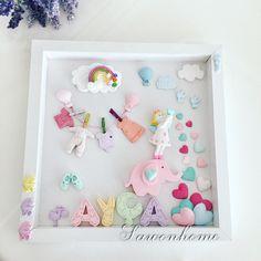 Pano çalışmamız Handmade Crafts, Diy And Crafts, Biscuit, Scrabble Crafts, Celebration Box, Personalized Photo Frames, Picture Frame Decor, Baby Frame, Felt Roses