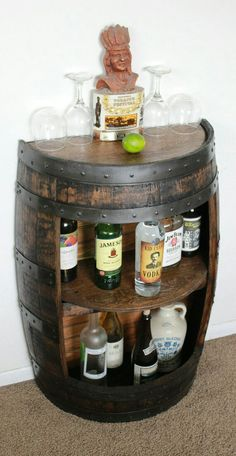 Whiskey Barrel Half Bar Large 53 Gallon, Bourbon Barrel, Wine Barrel Shelf, Liquor Cabinet, Home Bar - Home Bar Cabinet, Drinks Cabinet, Liquor Cabinet, Cabinet Ideas, Alcohol Cabinet, Table Baril, Whisky Regal, Canto Bar, Palette Deco
