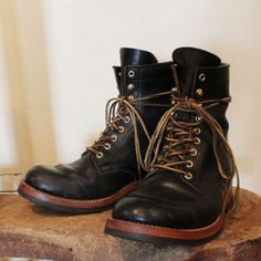 MOTOR CHROMEXCEL LEATHER LACE UP BOOTS BLACK (One year and a half age)