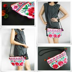 Half Moon Clutches Bag Handmade Embroidered by KhumWiengKham, $10.88