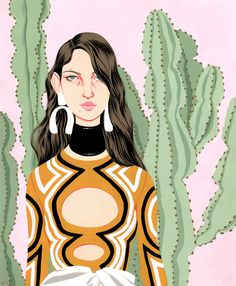 There's an awkward cool factor to Bijou Karman's illustrated subjects that is undeniably alluring. Elongated figures, exaggerated withdisproportionate features like big ears and freckles, are perfectly styledin Gucci, Miu Miu, Marni, Proenza Schouler and other designer wares. They're so