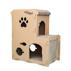 Petique's FELINE MEOWHOUSE is made sturdy for Your cats prowling through the Feline Penthouse,relaxing on the roof and scratching their favorite scratch board Hiding Cat Litter Box, Cardboard Cat House, Cardboard Crafts, Cat Stairs, Cat Perch, Cat Towers, Cat Scratching Post, Cat Scratcher, Pets