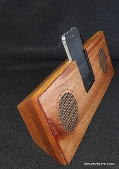 iPhone Wood Wire Free Speakers