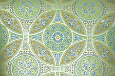 1970's Retro Wallpaper – Vintager Blue and Green Cathedral Geometric on Metallic Gold
