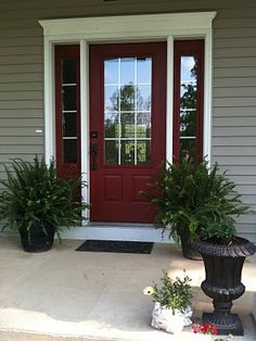 Country Redwood by Benjamin Moore source Related Stories Snow White Simply White Front Door Paint Color. Country Redwood by Benjamin Moore source House Paint Exterior, Exterior Paint Colors, Exterior House Colors, Exterior Doors, Exterior Design, Door Design, Exterior Trim, Front Door Paint Colors, Painted Front Doors