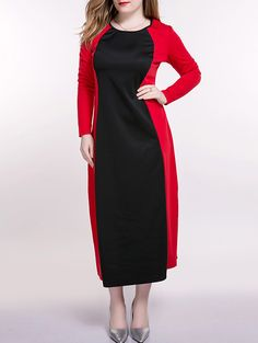 Oversized Trendy Long Sleeve Hit Color Maxi Dress