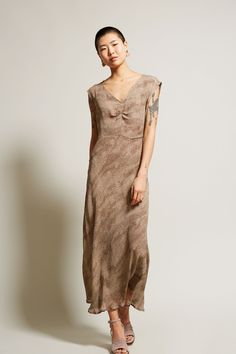 No.6 Teddi Front Ruched Dress in Brown Cosmos