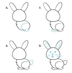 Konijn in 9 stappen_2 Drawing Lessons For Kids, Art Drawings For Kids, Pencil Art Drawings, Animal Drawings, Art For Kids, Dumbo Drawing, Kids Workshop, Cute Easy Drawings, Bunny Art