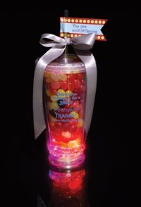"""Light-up Tumbler Gift,   the tag on top says """"You are enLightening""""      Seriously!!! How cute is that???"""