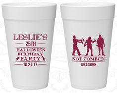 25th Birthday Styrofoam Cups, Halloween Birthday, Birthday Foam Cups (20143)
