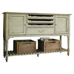2-door wood sideboard with 3 pull-out shelves and a bottom drawer. Includes a removable interior wine rack and a bottom display shelf.