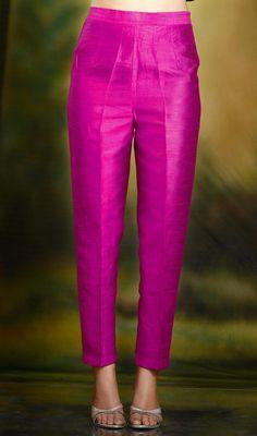 Hot Pink cigarette pants pencil trousers in silk fabric. Churidar Designs, Kurta Designs Women, Blouse Designs, Lehenga Choli, Anarkali, Salwar Pants, Plazzo Pants, Salwar Dress, Trouser Pants