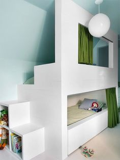 Secret space bunk bed in an attic kid