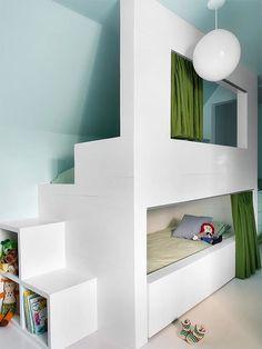 Secret space bunk bed in an attic kid