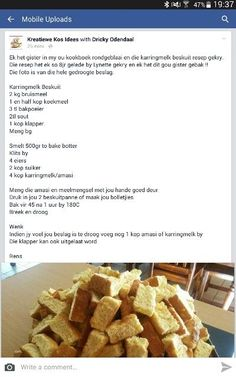 Bulk Cookie Recipe, Biscuit Recipe, Over The Hill Cakes, Rusk Recipe, Homemade Donuts, South African Recipes, Picnic Foods, Savory Snacks, Food Print