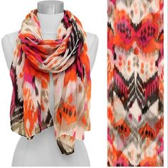 """Ikat Print Wide Oblong Scarf Ikat Print Wide Oblong Scarf  Approx. 34""""W x 72""""L Fuchsia Accessories Scarves & Wraps"""