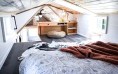 """""""Kootenay Country"""" Tiny House on Wheels by TruForm Tiny Tiny House Movement // Tiny Living // Tiny House Bedroom // Tiny Home Workspace //"""