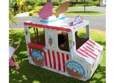 Isn't this the cutest recycle ice-cream truck-we got to paint it Ice Cream Van, Ice Cream Party, Cardboard Car, Cream Decor, Kindergarten Themes, Creative Curriculum, Play Centre, Time Activities, Learning Through Play