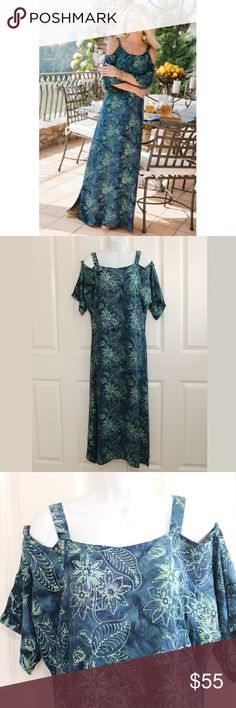 Soft Surroundings Antilles Cold Shoulder Teal Maxi Soft Surroundings - Antilles Dress / Batik Print.  Shades of teal and green.  Short sleeves and sold shoulders.  Maxi length.  Size PXS.  About 18.5 inches from armpit to armpit.  About 51 inches from shoulder to hem.  (Would probably work for a PS also.)  Preowned.  No wear.  Like new condition.  Never worn or washed.  100% Rayon.  Reatil @ $125 Soft Surroundings Dresses Maxi