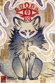 Smoke 3 / Kitsune Fox Yokai Magic / by TeaFoxIllustrations on Etsy, $6.00