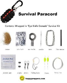 Paracord for Survival (components of an EYE KNIFE GRENADE survival kit): http://www.happypreppers.com/Paracords.html