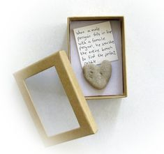 Unique Love Card  a heart shaped rock in a box by MedBeachStones, $9.80