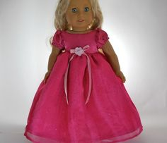 18 inch doll clothes, Bright Pink Sparkle Ball Gown Dress, 08-0418 by thesewingshed on Etsy