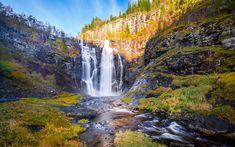 Download wallpapers waterfall, rock, mountains, autumn, lake, Norway