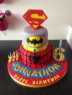 Spiderman, Superman and Batman Cake
