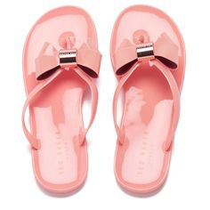 681890e357aaa9 Ted Baker Women s Ettiea Jelly Bow Flip Flops ( 56) ❤ liked on Polyvore  featuring shoes