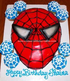 Homemade Spiderman Birthday Cake: This Spiderman Birthday Cake was made for a friend of mine who had a daughter turning five.  I baked a square cake then carved the shape of the face. I