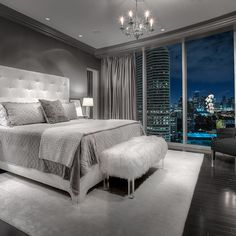 20 Beautiful Gray Master Bedroom Design Ideas   Style Motivation My Dream  Masters Bedroom With The Big Full Windows All Around It