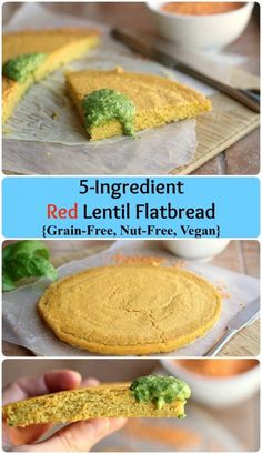 5-Ingredient Red Lentil Flatbread - A delicious, grain-free 'bread' made with water and lentils! This vegan-friendly recipe is a favorite and easily customized to your taste.