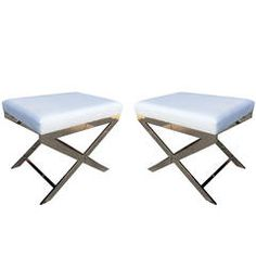 """Pair of """"X"""" Frame Benches by Charles Hollis Jones in Nickel, Signed & Dated"""