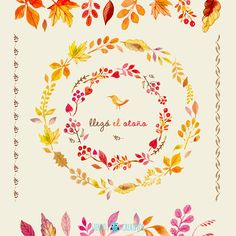 More than a million free vectors, PSD, photos and free icons. Exclusive freebies and all graphic resources that you need for your projects Wreath Watercolor, Watercolor And Ink, Watercolor Flowers, Watercolor Paintings, Frame Clipart, Leaf Art, Autumn Theme, Fall Harvest, Wedding Paper