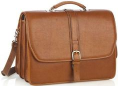 Double Compartment Briefcase - Tan - In stock - Front View