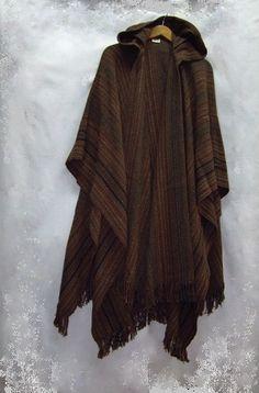 Brown Ruana - Shuttle Creek - $296 (hand-woven cape)