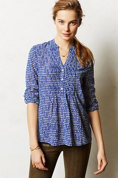 Great shirt for work or play - pair with jeans or shorts and cute flats.  Kaveri Henley #anthropologie