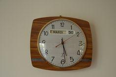 pendule de cuisine Jaz, vintage,  en formica, avec calendrier, clock de la…