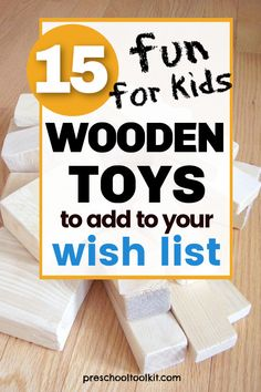 Choose wooden toys you make or buy for hands-on fun with early learners. The wood toys on this wish list provide amazing play value for toddlers and preschoolers. #christmasforkids #kidstoys #diy Wood Toys, Gift List, Toddler Preschool, Cool Kids, Holiday Gifts, Kids Toys, Toddlers, Hands, Play