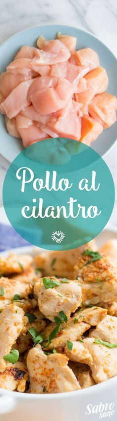 - Pollo al cilantro - Ingredientes - • 3 Pechugas de pollo sin hueso • 3 Limones • 4 Dientes de ajo, picados • ¼ Taza cilantro picado • 3 cucharadas de Aceite Sabrosano • Comino • Pimienta Cayenna • Aguacate para acompañar I Love Food, Good Food, Yummy Food, Tasty, Food Porn, Deli Food, Cooking Recipes, Healthy Recipes, Mexican Food Recipes
