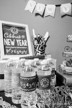 black gold chalkboard new years party ideas